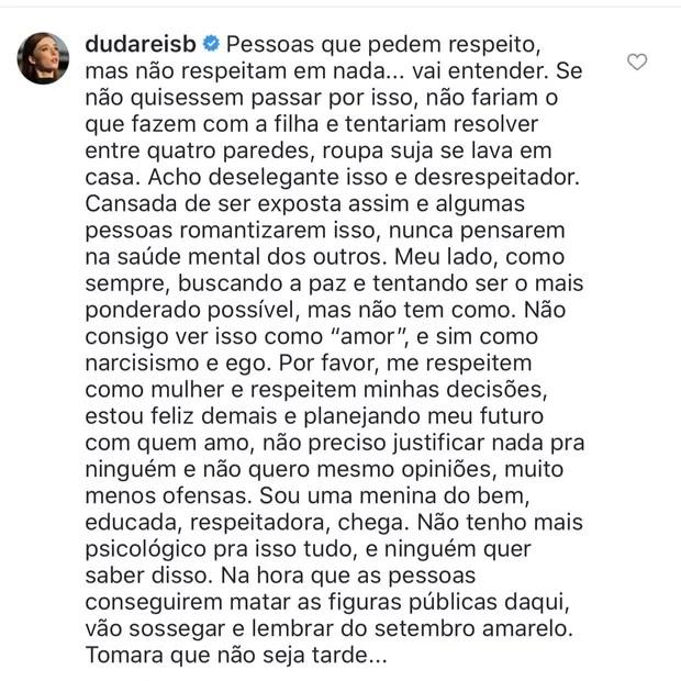Comentário de Duda Reis (Foto: Reprodução/Instagram)