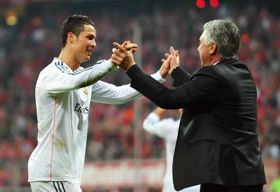 Volta ao Real Madrid geraria reencontro de Cristiano oRonaldo com Carlo Ancelotti — Foto: Getty Images
