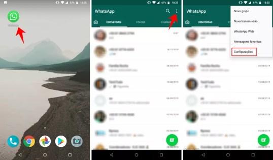 Abrindo as configurações do WhatsApp no Android — Foto: Reprodução/Rodrigo Fernandes