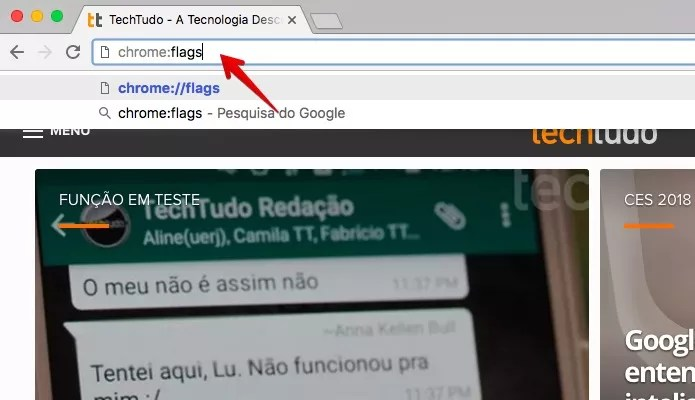 Acesse a página do Chrome Flags