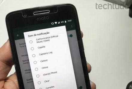WhatsApp para Android permite colocar qualquer música do celular como toque de chamada — Foto: Reprodução/Rodrigo Fernandes
