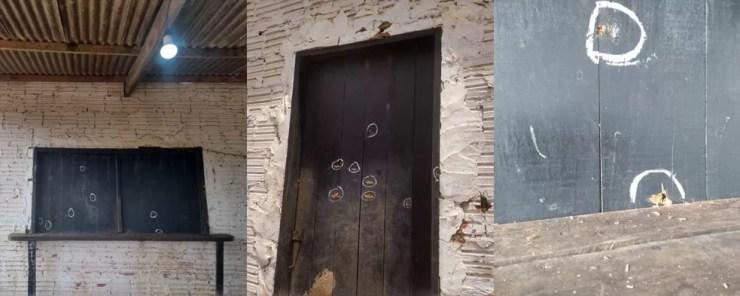 Tiros atingiram janelas, porta e paredes do bar onde houve chacina — Foto: Tálita Sabrina/Rede Amazônica Acre