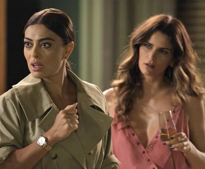Carolina dá de cara com Daniele no apartamento de Arthur (Foto: TV Globo)