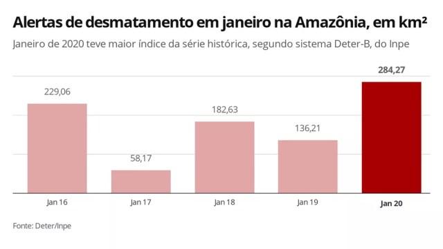 Alertas de desmatamento para janeiro na Amazônia apontam recorde em janeiro de 2020 — Foto: Elida Oliveira/G1