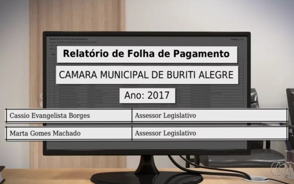 Relatório aponta que Cássio e Marta receberam salários em 2017, em Buriti Alegre, em Goiás (Foto: TV Anhanguera/Reprodução)