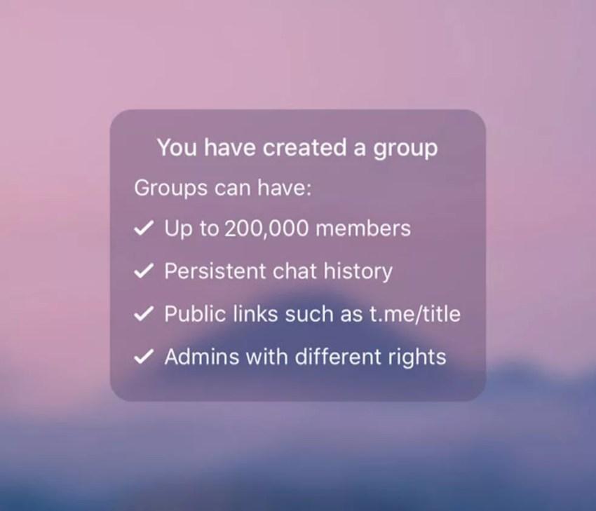 Telegram anuncia expansão de grupos, que agora podem ter até 200 mil membros. — Foto: Divulgação/Telegram