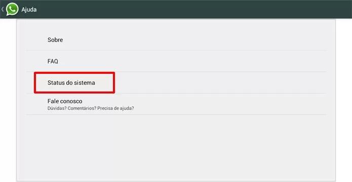 WhatsApp apresenta status do sistema, onde é possível saber se o serviço está fora do ar (Foto: Reprodução/Elson de Souza)