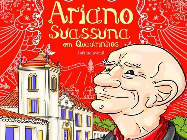 Livro que conta a história de Ariano Suassuna em Quadrinhos é voltado para público infanto-juvenil (Foto: Reprodução)