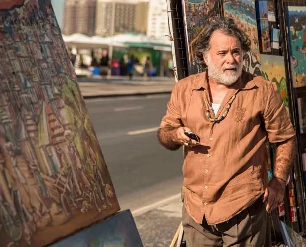 Ator grava cenas como seu novo personagem (Foto: Inácio Moraes/Gshow)