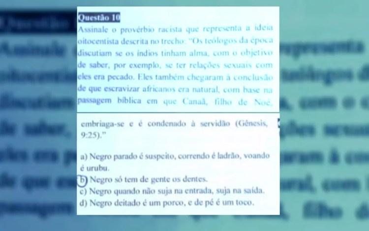Questão traz alternativas racistas e gera polêmica em Morrinhos (Foto: TV Anhanguera/Reprodução)