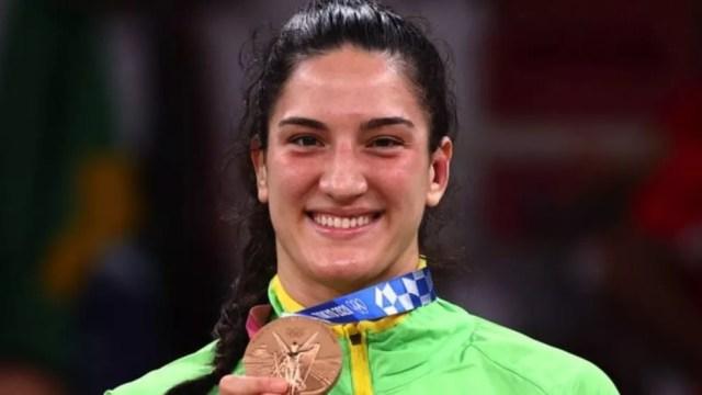 Mayra Aguar ganhou bronze em Tóquio 2021, repetindo o que havia feito nas últimas duas olimpíadas. — Foto: Reuters via BBC