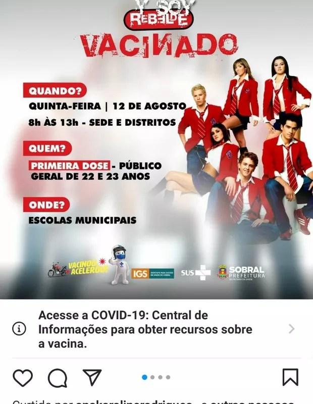 Campanha da prefeitura de Sobral usa imagem de RBD (Foto: Reprodução/Instagram)