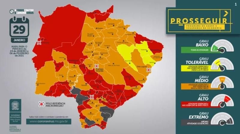 Mapa do programa Prosseguir do governo de MS que foi divulgado nesta sexta-feira (29) — Foto: Governo de MS/Divulgação