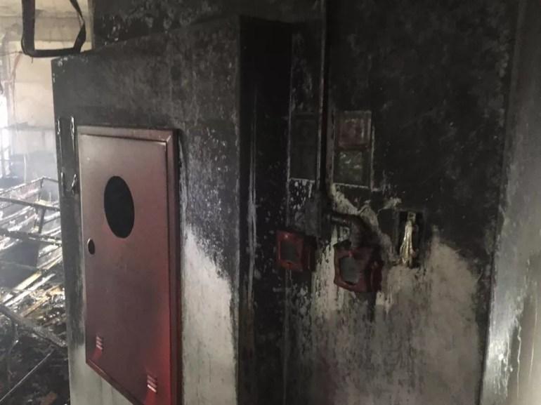 Parte atingida pelo incêndio no prédio do INSS em Porto Velho — Foto: Corpo de Bombeiros/Divulgação