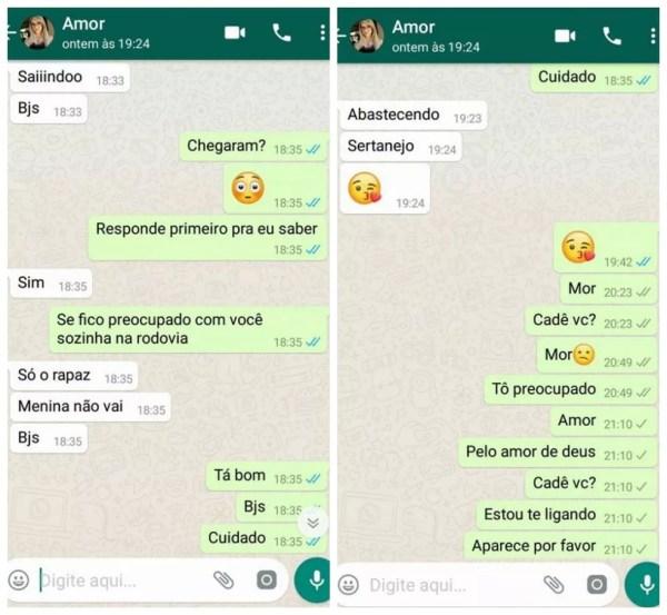 Conversa entre Kelly Cristina Cadamuro e o namorado Macos Antônio da Silva — Foto: Marcos Antônio da Silva/Reprodução/Arquivo pessoal
