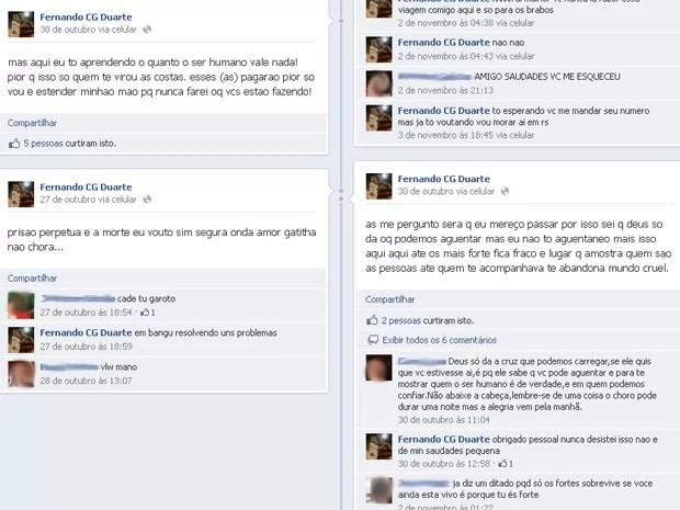 """Questionado por um amigo, ele responde: """"estou em bangu resolvendo uns problemas"""" (Foto: Facebook/Reprodução)"""