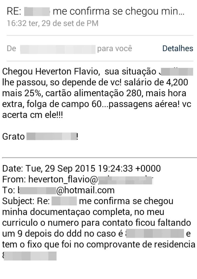 Heverton Flávio trocou e-mails com suposto funcionário (Foto: Heverton Flávio/ Arquivo Pessoal)