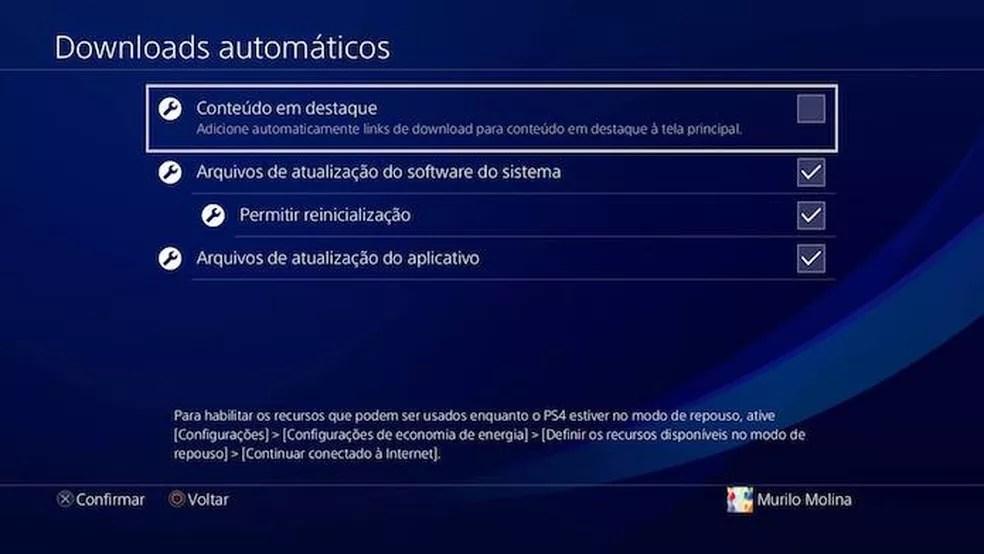 Desmarque a caixa Conteúdo em Destaque do PS4 (Foto: Reprodução/Murilo Molina)