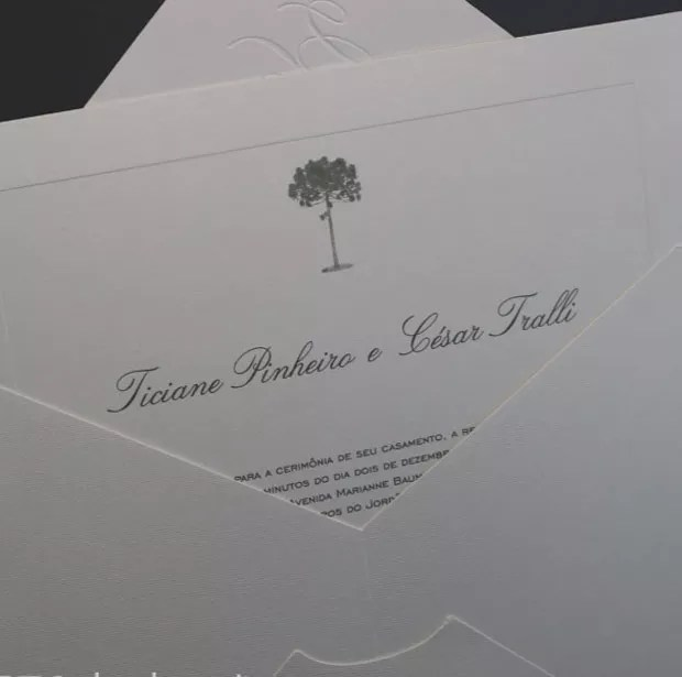 O convite de casamento de César Tralli e Ticiane Pinheiro (Foto: Reprodução Instagram)