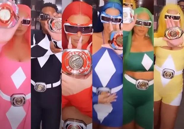 Kylie Jenner (de vermelho) e amigos fantasiados de Power Rangers pro Halloween (Foto: Reprodução/Instagram)