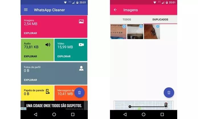 App Limpador para WhatsApp calcula espaço gasto pelo mensageiro no celular (Foto: Reprodução/Raquel Freire)