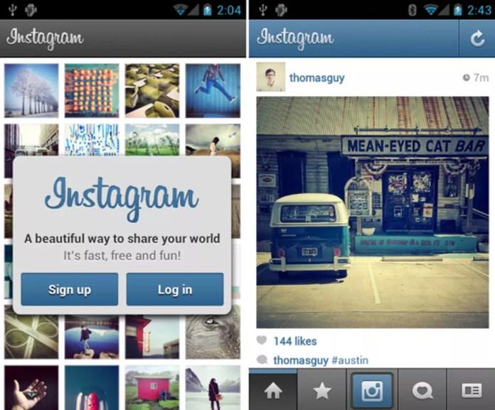 Lembra dela? A primeira versão do Instagram para o Android. — Foto: Divulgação