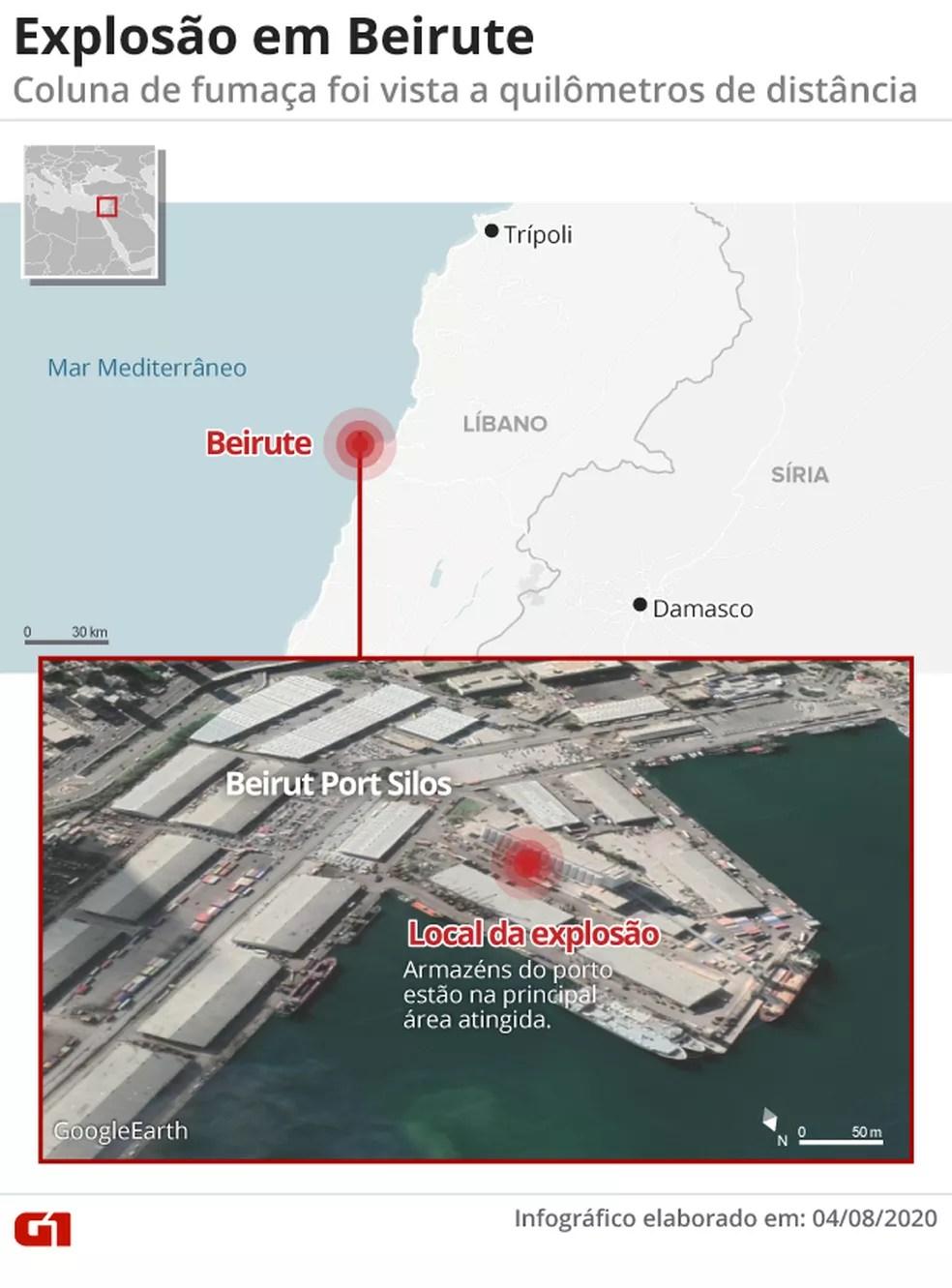 Mapa identifica a região portuária de Beirute, onde aconteceu uma grande explosão nesta terça-feira (4) — Foto: G1