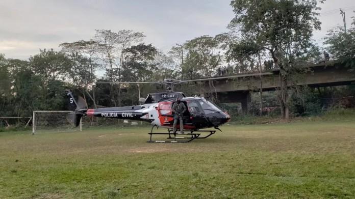 Helicóptero Pelicano, da Polícia Civil foi usado na operação da Dise Piracicaba (Foto: Tonny Machado/Raízes FM)