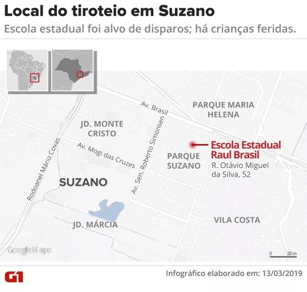 Tiroteio em escola de Suzano — Foto: Juliane Monteiro/G1