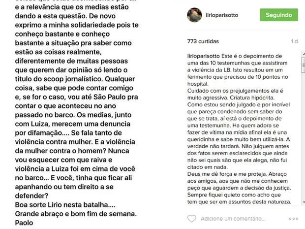 Empresário postou parte de mensagem que teria recebido de uma das testemunhas da agressão de Brunet (Foto: Reprodução/Instagram)