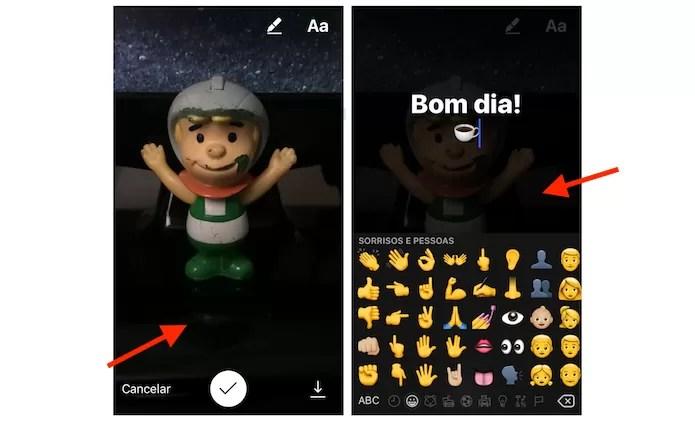 Adicionando texto e emojis em uma nova história do Instagram (Foto: Reprodução/Marvin Costa)