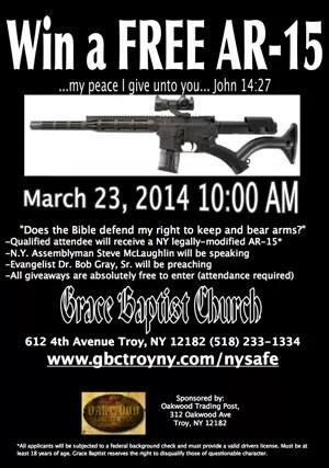 Igreja batista de Nova York causou polêmica ao anunciar sorteio de fuzil AR-15 entre os fiéis (Foto: Reprodução/Great Baptist Church - Troy, New York)