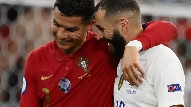 Ex-companheiros de Real Madrid, Cristiano Ronaldo e Benzema foram os artilheiros de Portugal 2 x 2 França