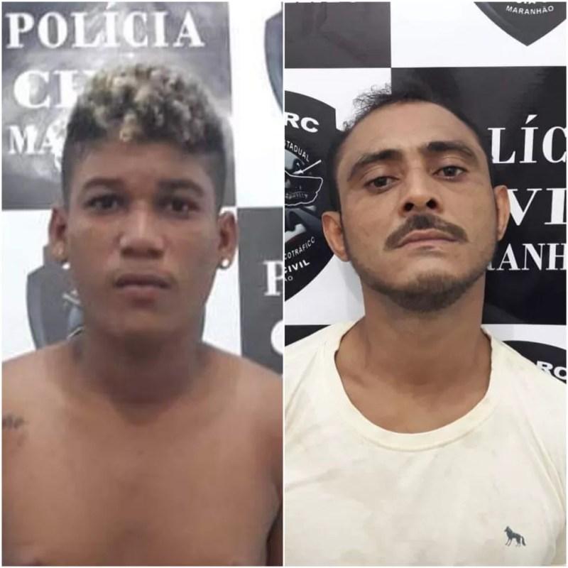 Matheus Gabriel da Silva Vasconcelos e Matheus Gabriel da Silva foram presos por tráfico de drogas em Timon — Foto: Divulgação/Polícia Civil