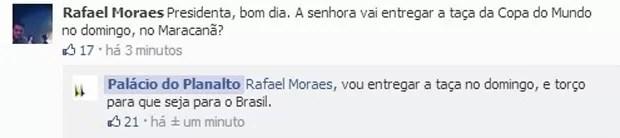 Presidente Dilma diz em rede social do Palácio do Planalto que vai entregar taça da Copa na final. (Foto: Divulgação)