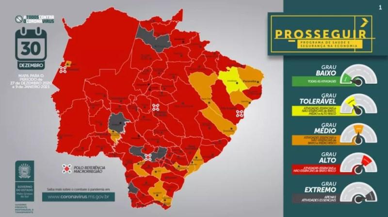 Mapa do programa Prosseguir divulgado nesta quarta-feira (30) — Foto: Governo de MS/Divulgação