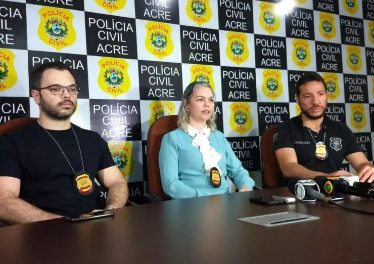 Duas pessoas são presas em flagrante por pornografia infantil no Acre; polícia cumpre seis mandados no estado (Foto: Aline Nascimento/G1)
