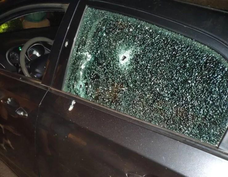 Carro em que policial civil foi morto, em Sete Quedas (MS). — Foto: Redes Sociais