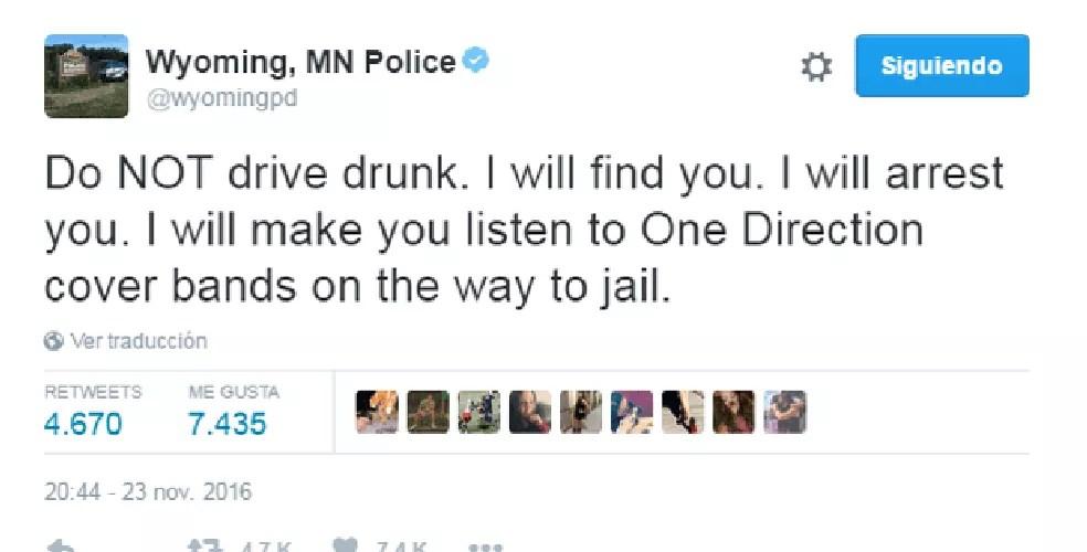 Polícia dos EUA ameaça obrigar motoristas bêbados a ouvir covers de One Direction (Foto: Wuoming, MN Police/Twitter)