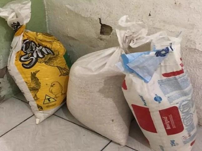 Sacas de grãos foram furtadas de lojas — Foto: Divulgação/PCPI