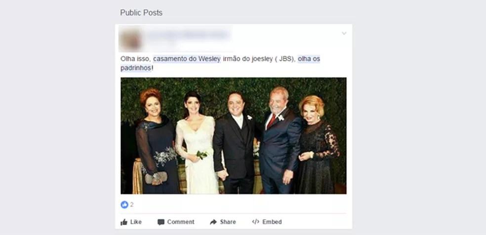Foto de casamento tem sido compartilhada como se fosse de Wesley Batista (Foto: Reprodução/Facebook)