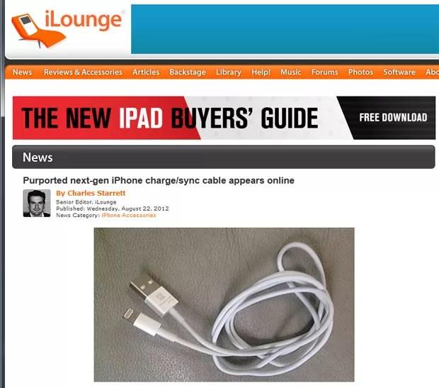 Site 'iLounge' publica suposta imagem de cabo do novo iPhone com entrada menor do que a tradicional (Foto: Reprodução)