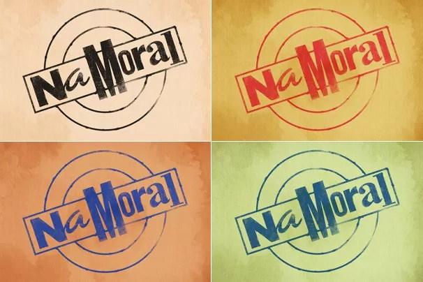 Variações de cores da logomarca do novo programa da Globo, Na Moral, apresentado por Pedro Bial