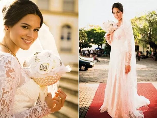 A cerimônia do casamento de Helena foi uma catástrofe, mas o vestido deu o que falar (Foto: Divulgação/Gshow/TV Globo)