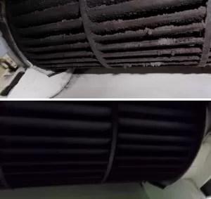 Fotos mostram ar-condicionado antes da limpeza (em cima) e depois da limpeza; acúmulo de sujeira pode levar a sintomas (Foto: Hideraldo Esteves/Airtemp/Divulgação)