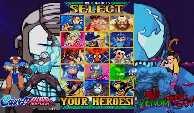 Tela de seleção de personagens da versão remasterizada de 'Marvel vs. Capcom' (Foto: Divulgação)