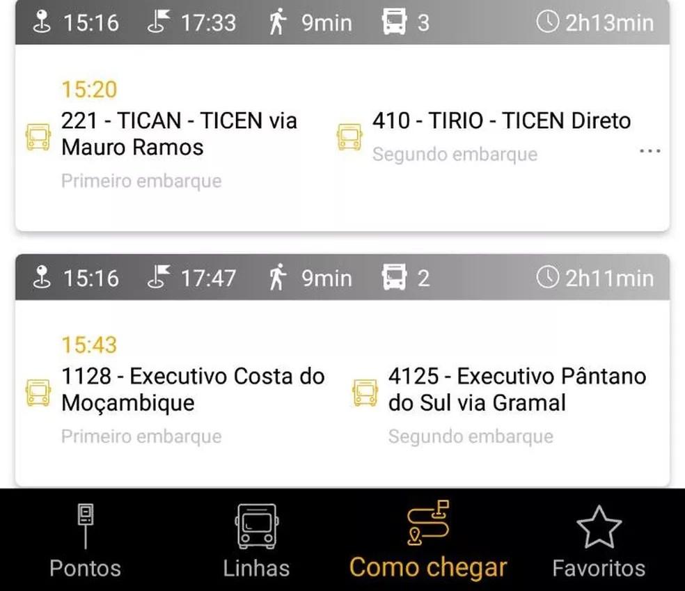 App calcula tempo de onde está o ônibus até o ponto do passageiro (Foto: Floripa no Ponto/Reprodução)