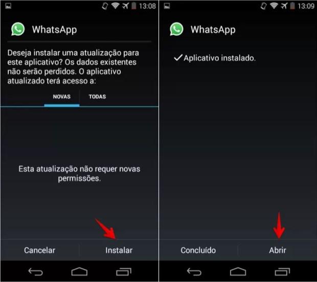 Atualizando o aplicativo do WhatsApp (Foto: Reprodução/Helito Bijora)