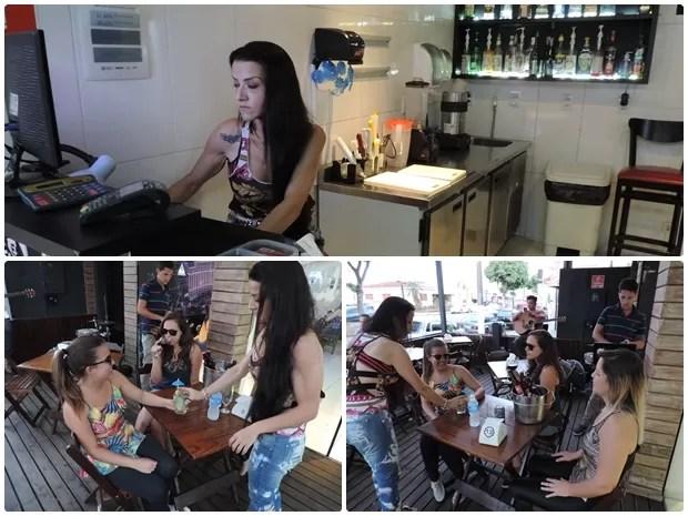 À noite, Thalita trabalha como gerente em um bar de Cerquilho (Foto: Caio Gomes Silveira/ G1)