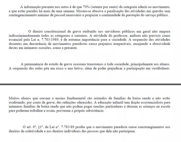 Trecho da decisão do TJ que manda professores encerrarem greve (Foto: Reprodução)